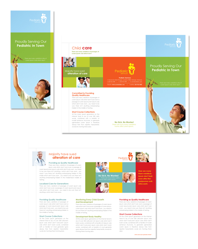 child care brochure template - pediatrician child care tri fold brochure template