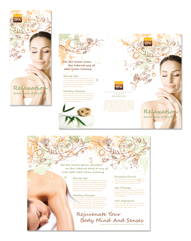 spa brochure template - health beauty spa tri fold brochure template dlayouts