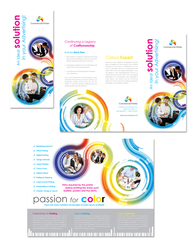 commercial printer tri fold brochure template - Commercial Brochure Templates