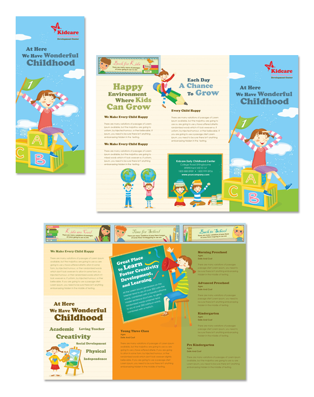 Child Development School Tri Fold Brochure Template - School brochures templates