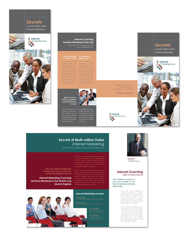 internet coaching program tri fold brochure template