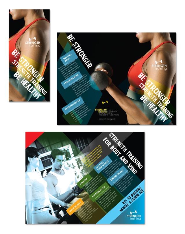 Strength Training Tri Fold Brochure Template