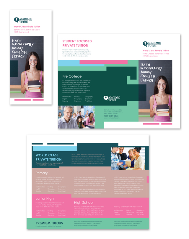 Tuition Class Tri Fold Brochure Template - High school brochure template