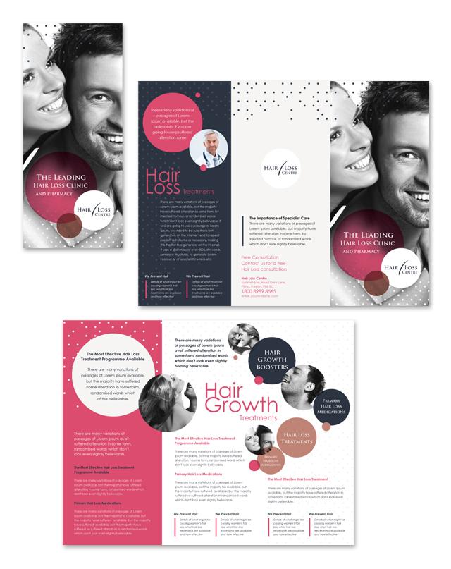 Hair Loss Treatment Centre Tri Fold Brochure Template