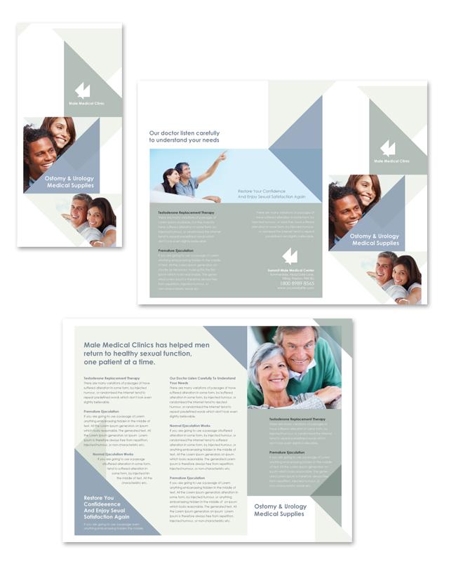 Male Medical Clinic Tri Fold Brochure Template