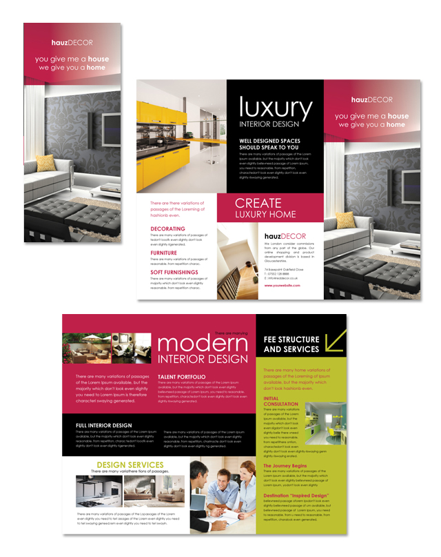 Interior design firm tri fold brochure template for Interior design brochures