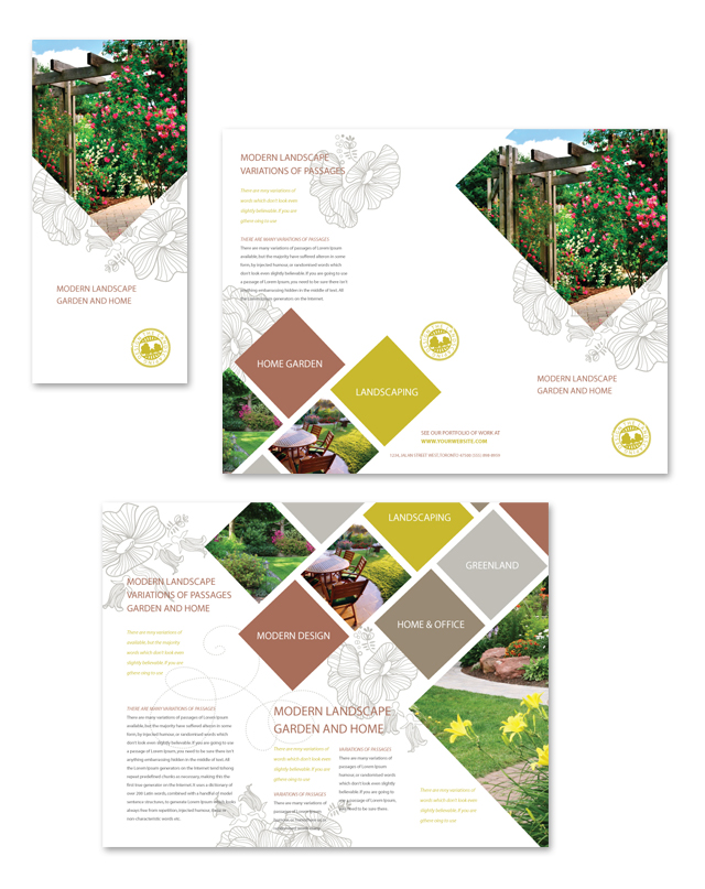 Modern landscaping tri fold brochure template for Modern brochure design templates