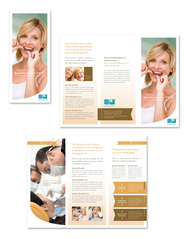 Family Dentistry Tri Fold Brochure Template