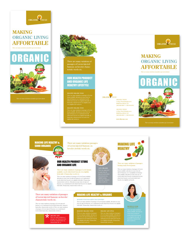 Organic Food Market Tri Fold Brochure Template