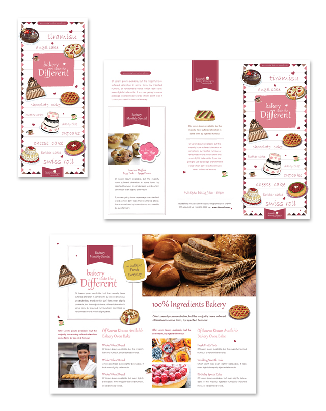 Decorative Bakery Tri Fold Brochure Template - Bakery brochure template free