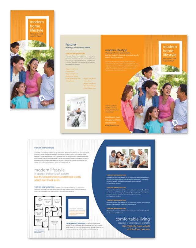Apartment Condominium Tri Fold Brochure Template