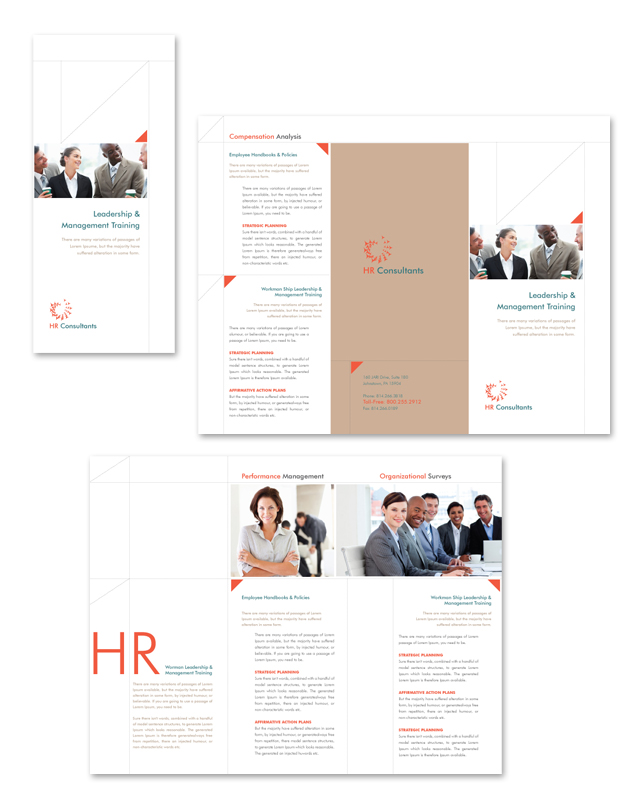 HR Consulting Tri Fold Brochure Template - Consulting brochure template