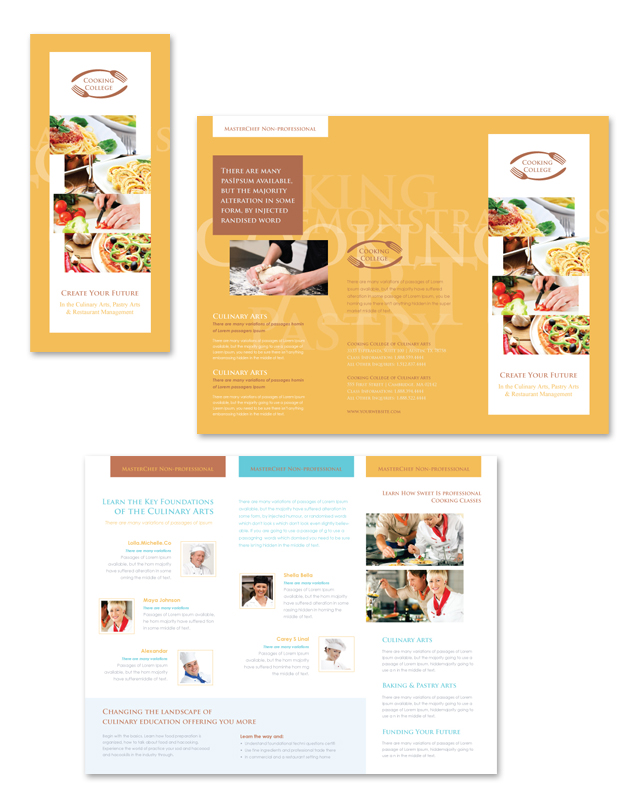 Cooking College Tri Fold Brochure Template - College brochure templates