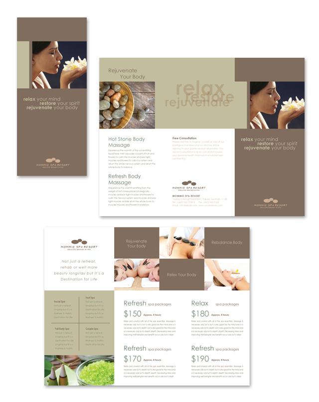Wellness Spa Resort Tri Fold Brochure Template - Spa brochure templates