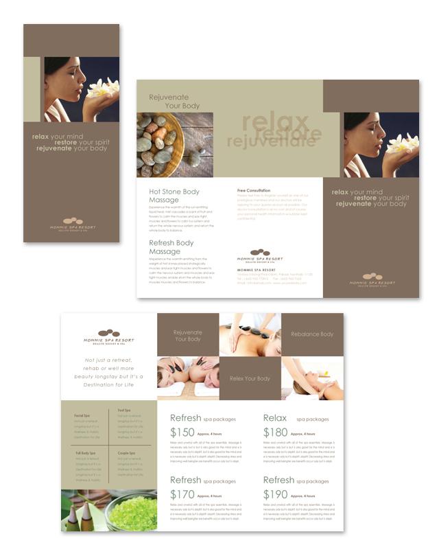 Wellness Spa Resort Tri Fold Brochure Template
