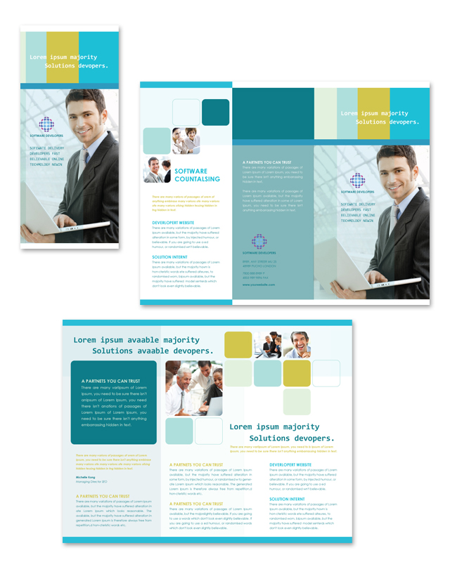 Software developers tri fold brochure template for Software brochure template