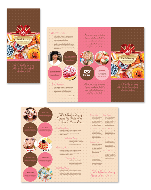 Bakery tri fold brochure template for Bakery brochure template free