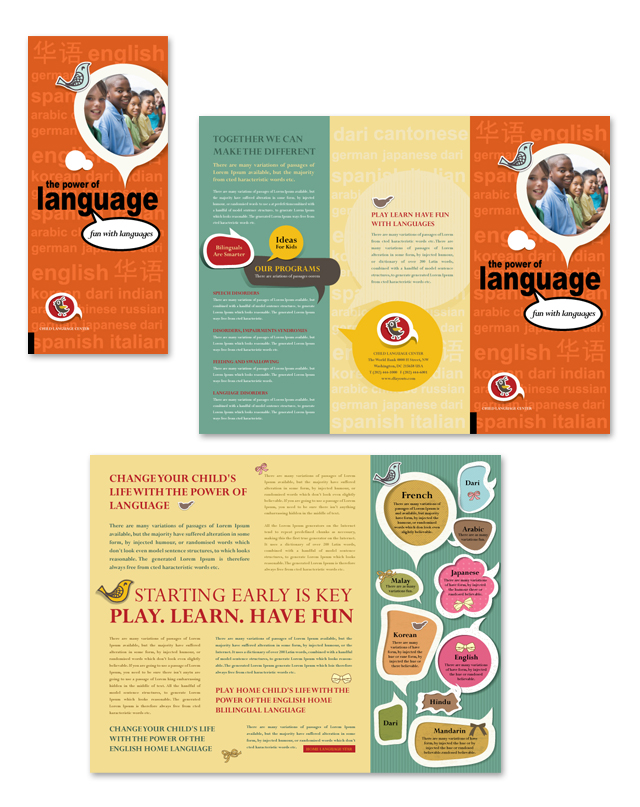 Child Language Learning Center Tri Fold Brochure Template