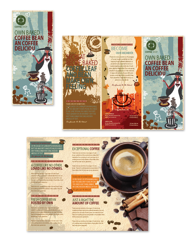 Coffee Shop Tri Fold Brochure Template