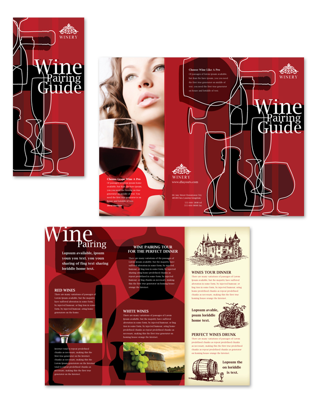 Vineyard & Winery Tri Fold Brochure Template