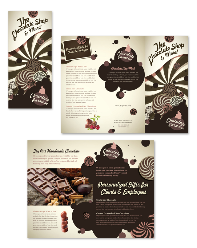 Chocolate Shop Tri Fold Brochure Template