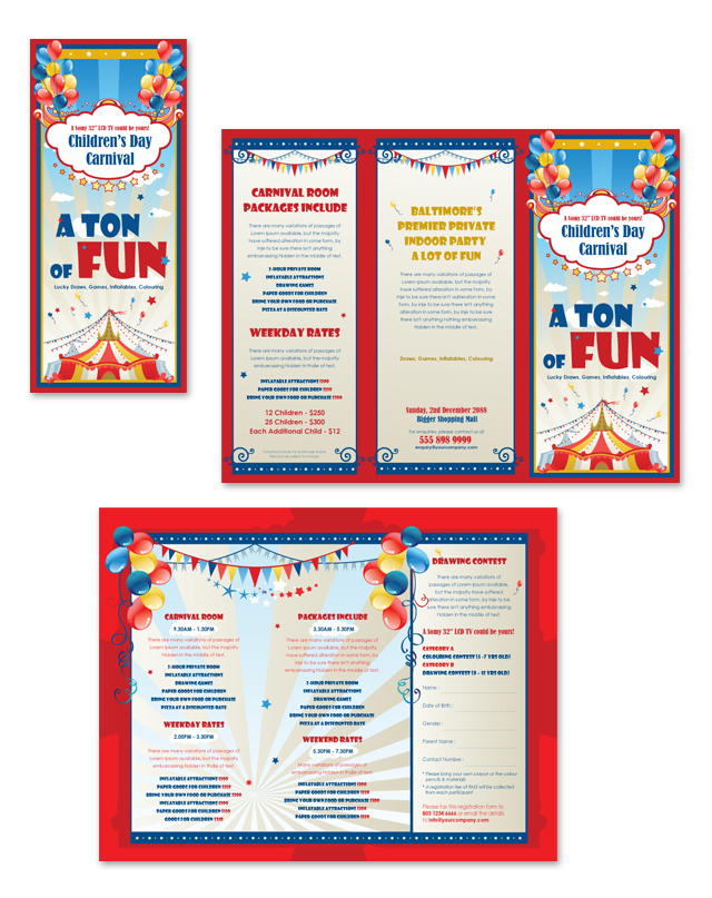 Kids carnival day tri fold brochure template for Brochure template for kids