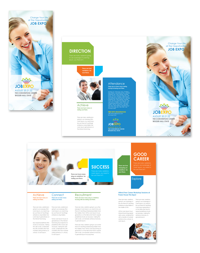 Career fair tri fold brochure template for Job fair brochure template