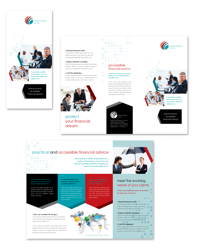 Financial planning tri fold brochure template for Financial brochure templates
