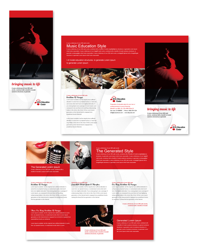 Arts education center tri fold brochure template for Tri fold school brochure template