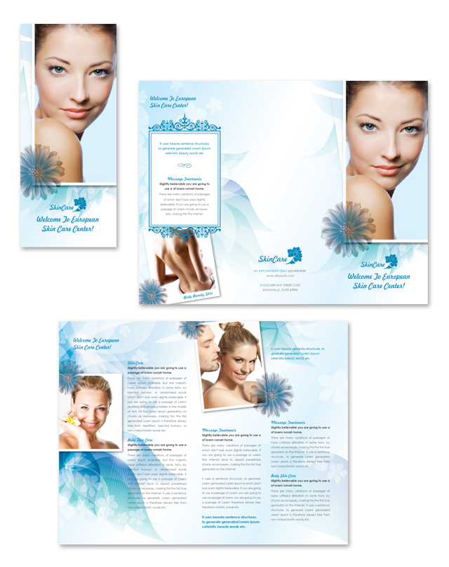 Skincare Center Tri Fold Brochure Template on Real Estate Flyer Templates Microsoft