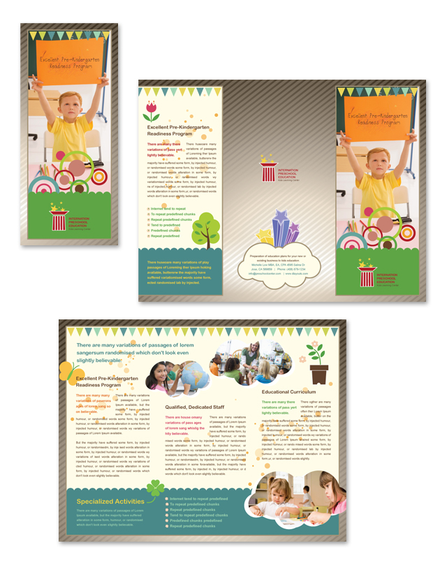 Preschool Education Tri Fold Brochure Template