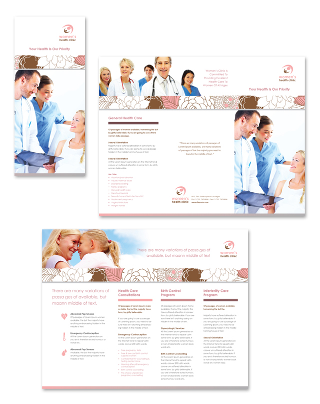 Gynecology Clinic Tri Fold Brochure Template