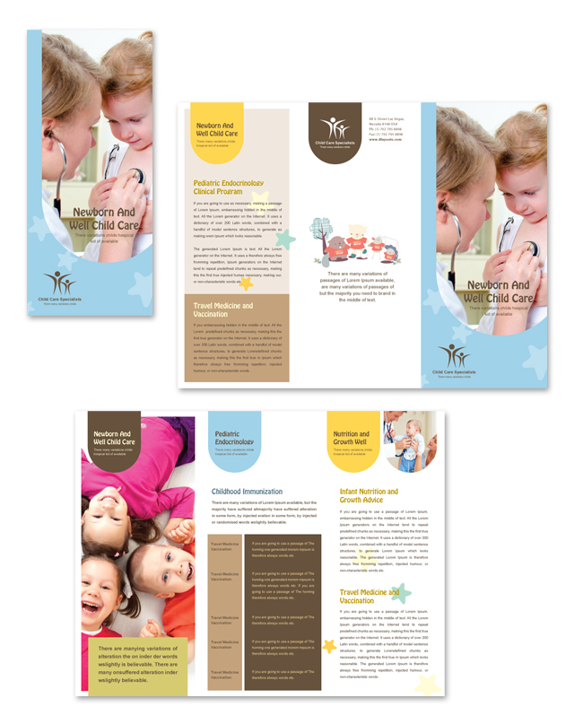 Child care specialists tri fold brochure template for Child care brochure template free