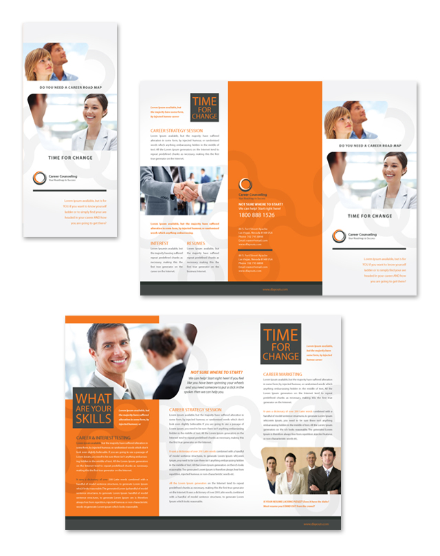 Career counseling tri fold brochure template for Counseling brochure templates free