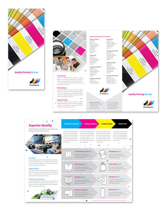 printing press brochure template printing company tri fold brochure template