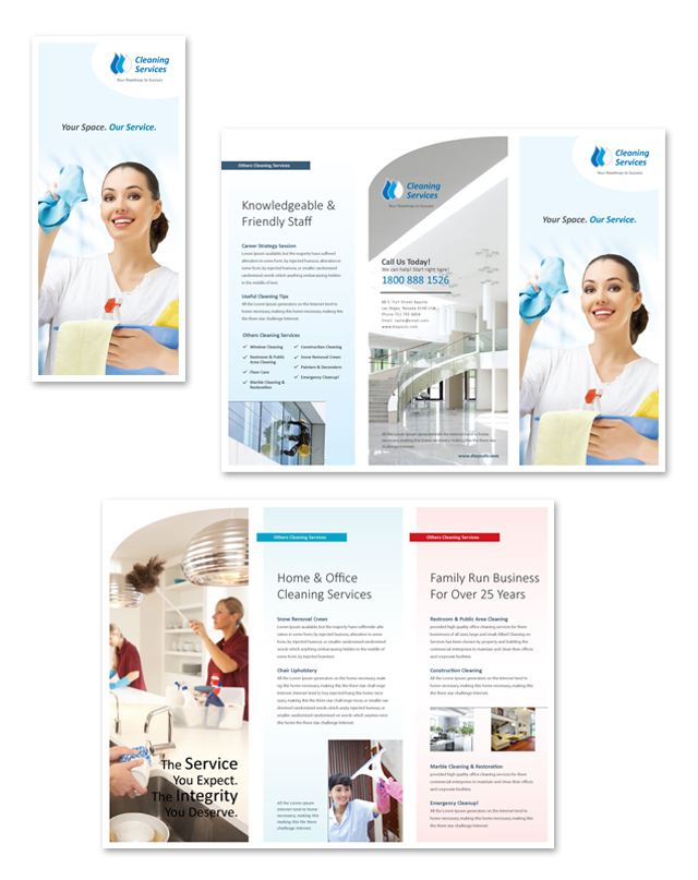 cleaning janitorial services tri fold brochure template. Black Bedroom Furniture Sets. Home Design Ideas