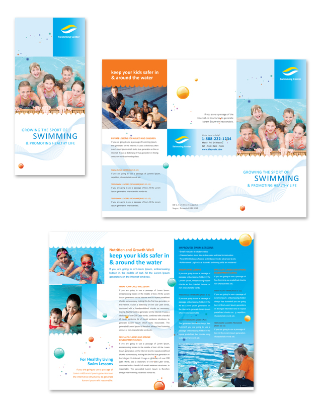 Swimming Lessons Tri Fold Brochure Template