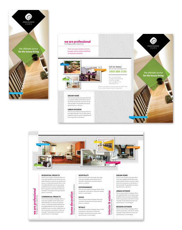 Interior & Exterior Studio Tri Fold Brochure Template