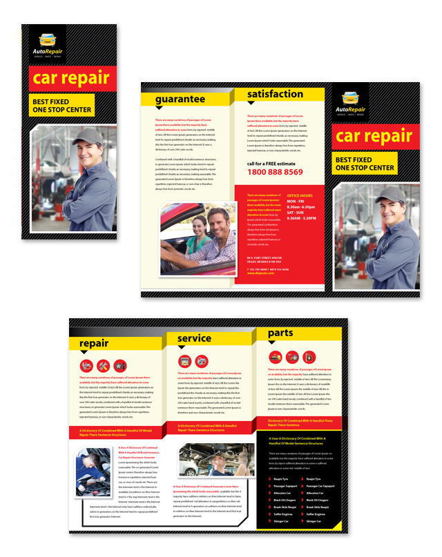 Auto repair services tri fold brochure template for Car brochure template