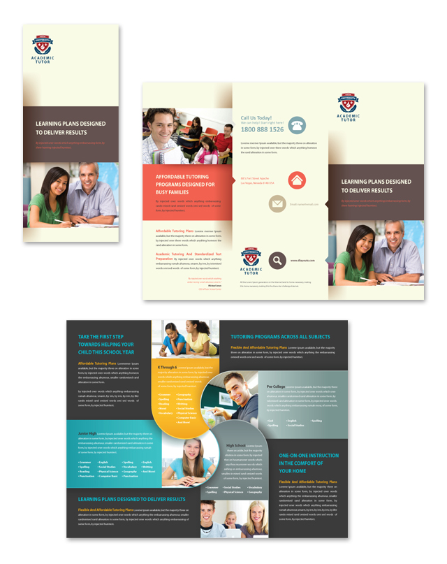 Academic Tutor Tri Fold Brochure Template