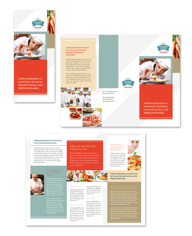 Culinary institute tri fold brochure template for Brochure design for training institute