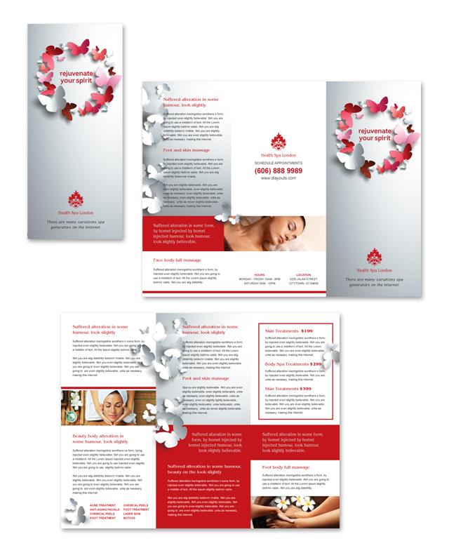 beauty salon brochure template - beauty spa tri fold brochure template