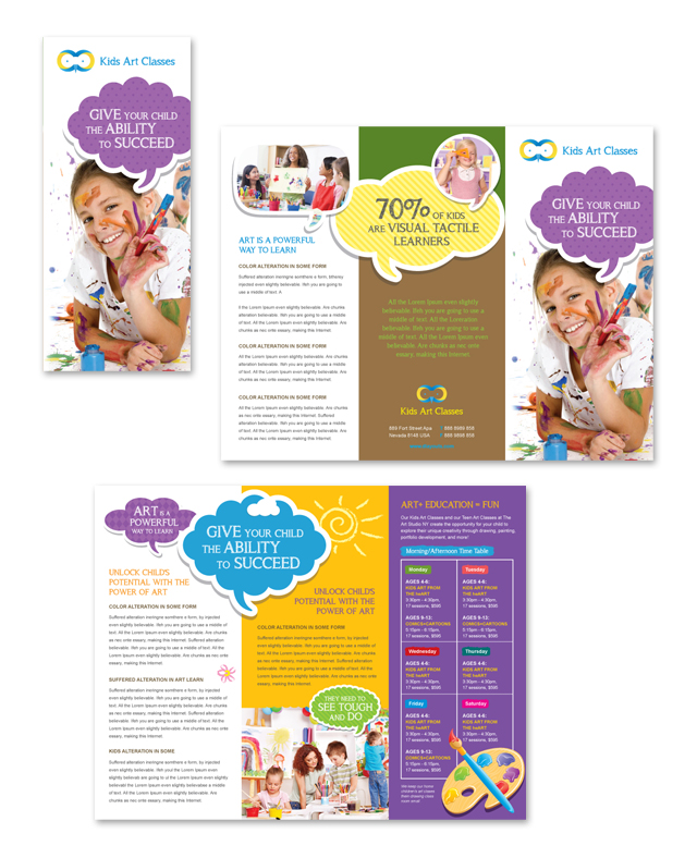 Kids Art Classes Tri Fold Brochure Template - Brochure flyer templates
