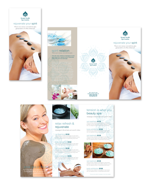 Day Spa Beauty Salon Tri Fold Brochure Template – Spa Brochure Template