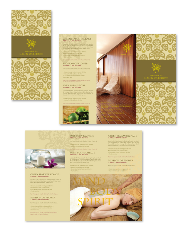 Natural day spa massage tri fold brochure template for Massage brochure template
