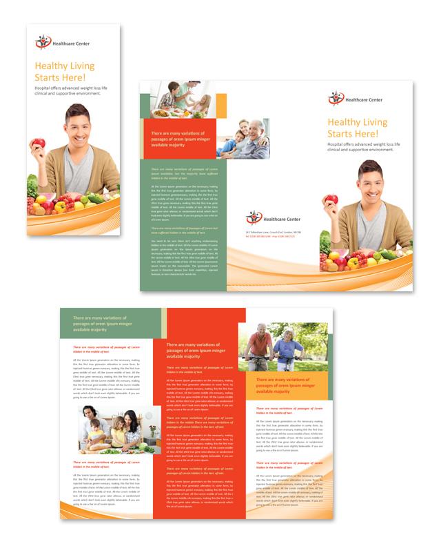 Healthcare Management Tri Fold Brochure Template - Health brochure templates