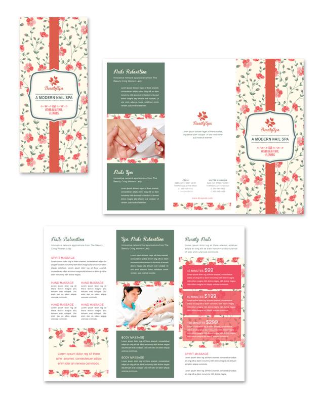 Nail Spa Center Tri Fold Brochure Template