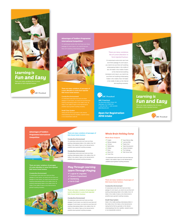 Preschool education tri fold brochure template for Daycare brochure template