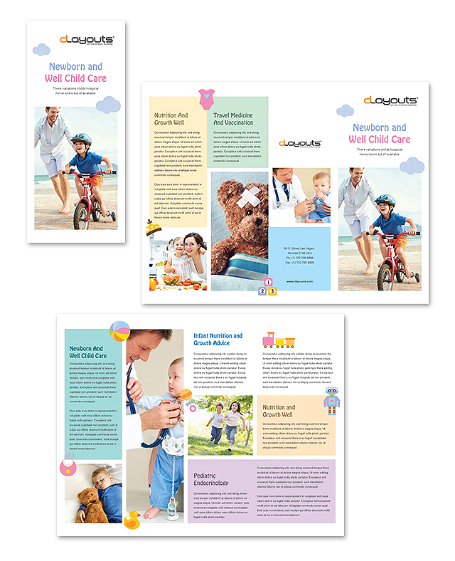 Printable Travel Brochure Template For Kids: Child Care Specialists Tri Fold Brochure Template