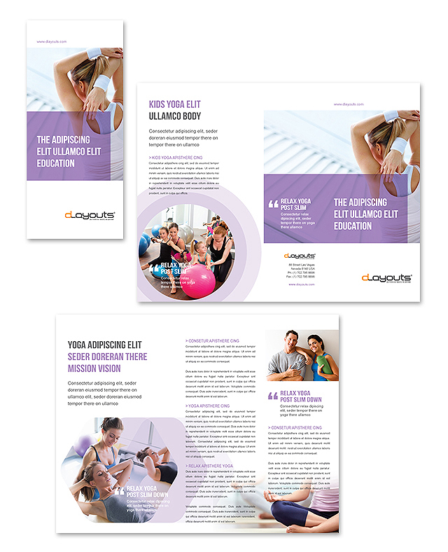 Yoga instructor studio tri fold brochure template for Yoga brochure templates free